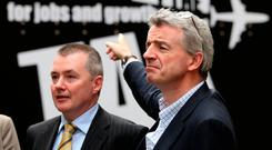 IAG boss Willie Walsh and Ryanair chief executive Michael O'Leary. Photo: Chris Ratcliffe/Bloomberg
