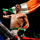 Michael Conlan celebrates after defeating Tim Ibarra in their featherweight bout at The Theater in Madison Square Garden in New York, USA. Photo by Ramsey Cardy/Sportsfile
