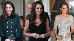Kate Middleton had three outfit changes on day one of her visit to Paris. Images: Getty