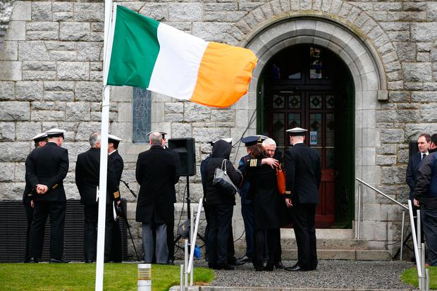 Mourners gather for the funeral of Captain Dara Fitzpatrick. Photo: David Conachy