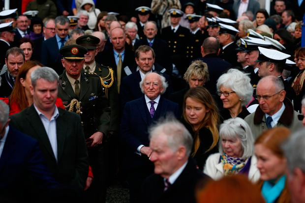 President Michael D Higgins and Taoiseach Enda Kenny among the mourners. Photo: David Conachy