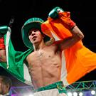 Michael Conlan celebrates after a super bantamweight win over Tim Ibarra