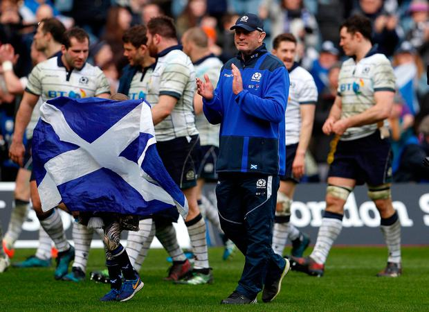 Britain Rugby Union - Scotland v Italy - Six Nations Championship - BT Murrayfield Stadium, Edinburgh, Scotland - 18/3/17 Scotland's Vern Cotter with daughter Anabella celebrate on the pitch at the end of the match Action Images via Reuters / Lee Smith Livepic