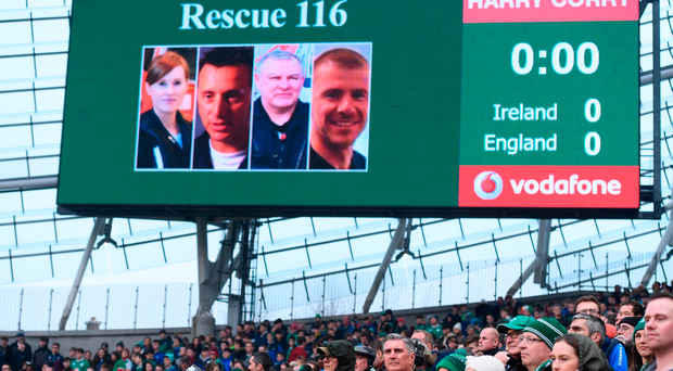A general view of the big screen during a minute's silence prior to the RBS Six Nations Rugby Championship match between Ireland and England at the Aviva Stadium in Lansdowne Road, Dublin. Photo by Stephen McCarthy/Sportsfile