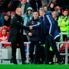 Burnley manager Sean Dyche (left) shakes hands with Sunderland manager David Moyes