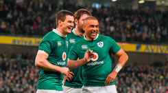 Sexton, left, and Simon Zebo of Ireland celebrate