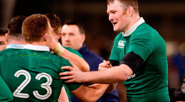 Donnacha Ryan and Andrew Conway of Ireland celebrate