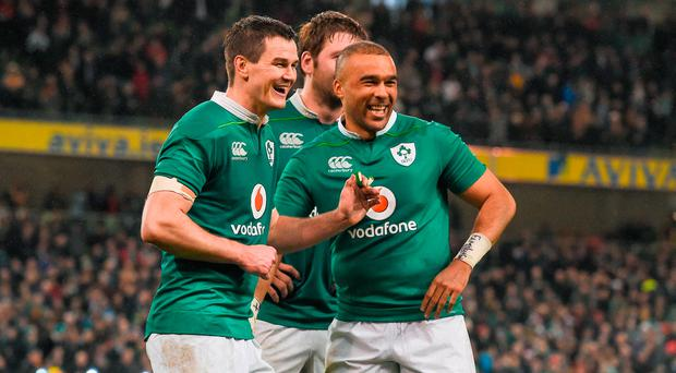 18 March 2017; Jonathan Sexton, left, and Simon Zebo of Ireland celebrate after the RBS Six Nations Rugby Championship match between Ireland and England at the Aviva Stadium in Lansdowne Road, Dublin. Photo by Brendan Moran/Sportsfile