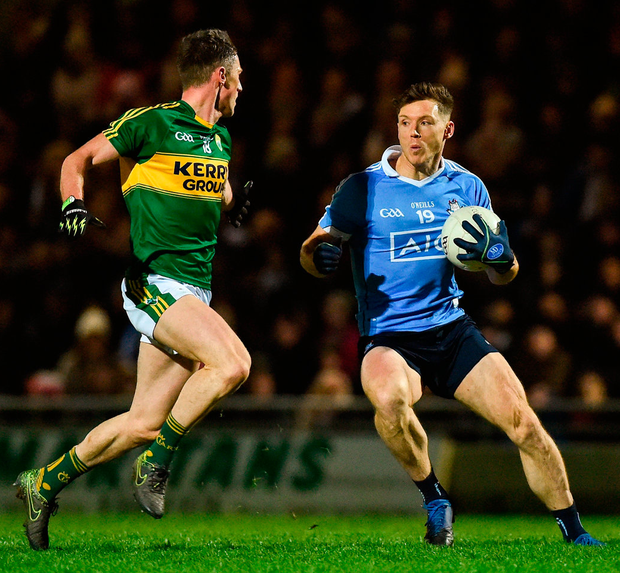 Dublin's Paul Flynn in action against Jonathan Lyne of Kerry during the Allianz Football League Division 1 Round 5 match. Photo: Diarmuid Greene/Sportsfile