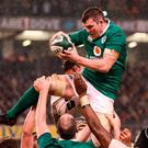 Ireland's Peter O'Mahony wins a lineout. Photo: Brendan Moran/Sportsfile
