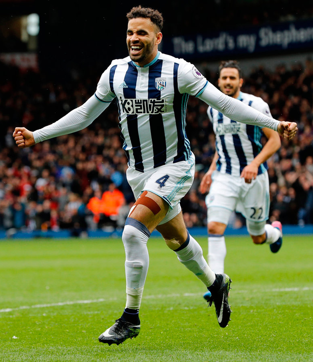 West Brom's Hal Robson-Kanu celebrates scoring their second goal. Photo: Darren Staples/Reuters