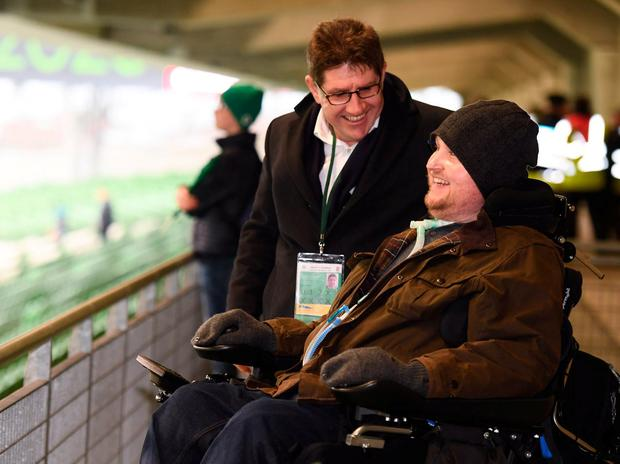 Matt Hampson and Paul Kimmage at yesterday's Six Nations match between Ireland and England at the Aviva Stadium. Photo: Stephen McCarthy