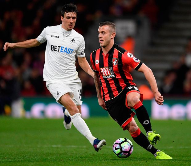 Bournemouth's Jack Wilshere in action with Swansea City's Jack Cork. Photo: Tony O'Brien/Reuters