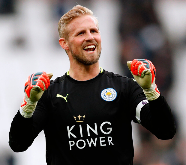 Leicester City's Kasper Schmeichel celebrates at the end of the match. Photo: John Sibley/Reuters