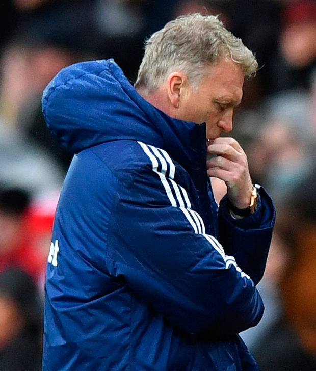 Sunderland manager David Moyes looks dejected after the match. Photo: Anthony Devlin/Reuters