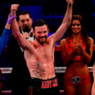 Andy Lee is announced victorious over KeAndrae Leatherwood following their middleweight bout at Madison Square Garden in New York=