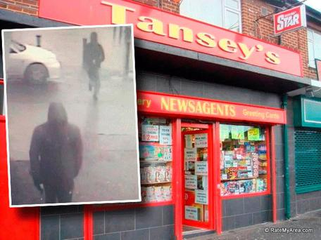 Tansey's newsagents and inset CCTV images of the suspected raiders