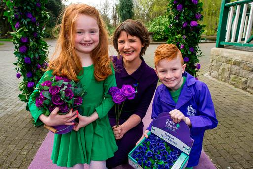 Launch of Cystic Fibrosis awareness week & 65 Roses Day. Pictured at Herbert Park were Keelin Shanley RTE, Jessica (7) and Tom (9) Cassidy from Longwood, Co. Meath who both have Cystic Fibrosis. Photo: Douglas O'Connor