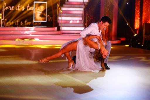 Dayl Cronin and Ksenia Zsihotska performing during the semi final of RTE's Dancing with the Stars. Photo by Darren Kinsella