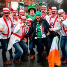 Irish and English supporters make their way to the Aviva Stadium. Photo: Stephen McCarthy/Sportsfile