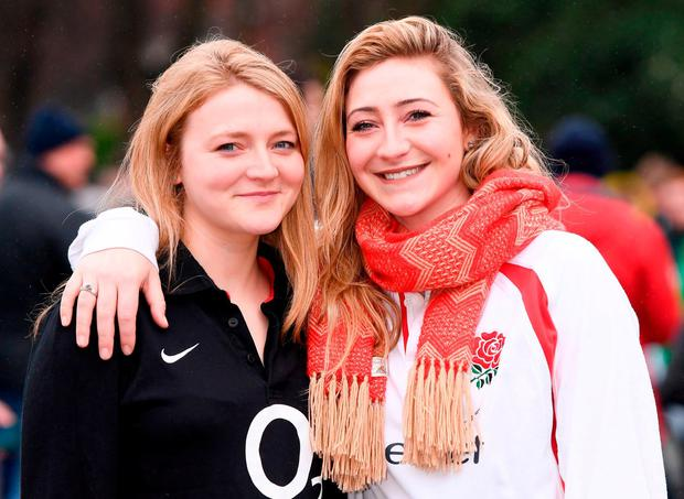 England supporters Rebecca, left, and Emma Craigie. Photo: Stephen McCarthy/Sportsfile