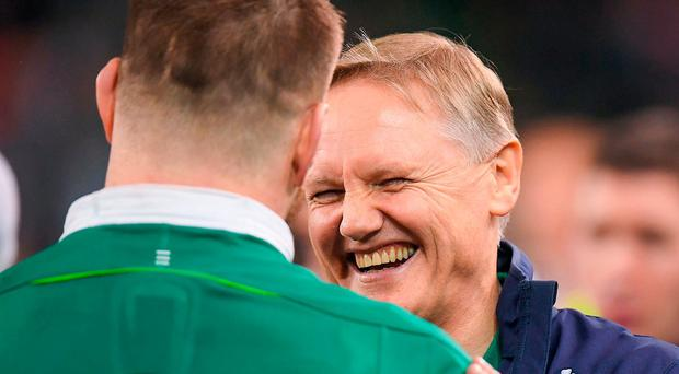 Joe Schmidt shares a joke with Sean O'Brien after Ireland's victory against England. Photo: Brendan Moran/Sportsfile