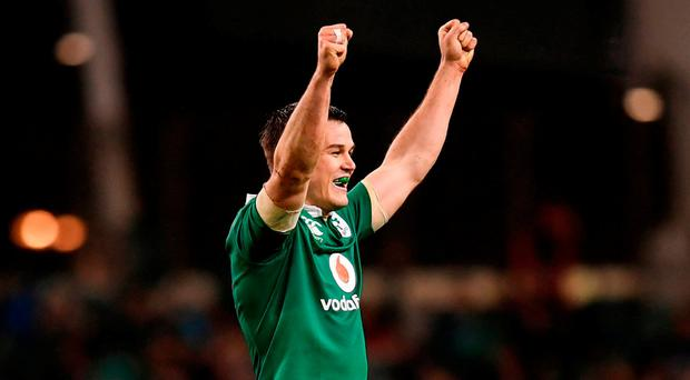 Jonathan Sexton celebrates after the RBS Six Nations Rugby Championship match between Ireland and England. Photo: Stephen McCarthy/Sportsfile