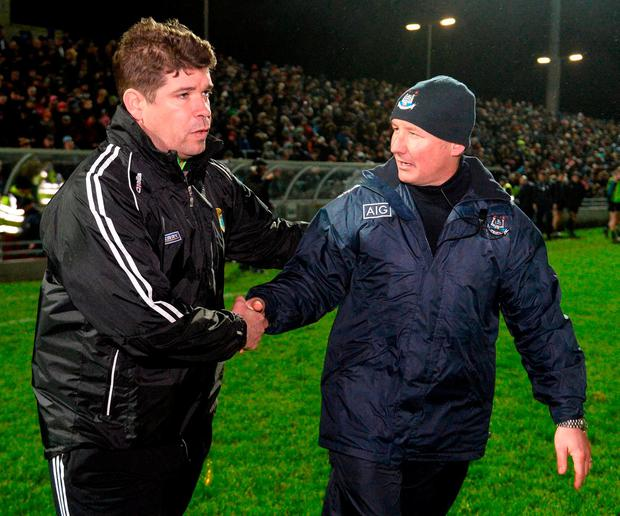 Kerry manager Eamonn Fitzmaurice and Dublin manager Jim Gavin exchange a handshake. Photo: Diarmuid Greene/Sportsfile