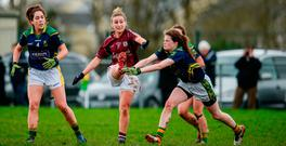 Galway's Sinead Burke in action against Kerry's Sarah Murphy during their Lidl Ladies Football league clash in Corofin. Photo by Sam Barnes/Sportsfile