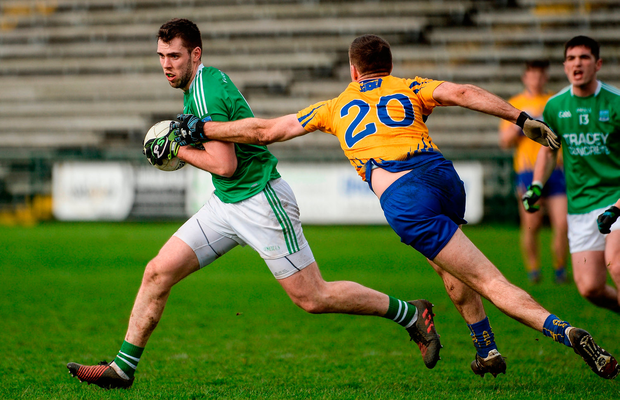 Ryan Jones of Fermanagh in action against Gary Brennan of Clare. Photo by Oliver McVeigh/Sportsfile