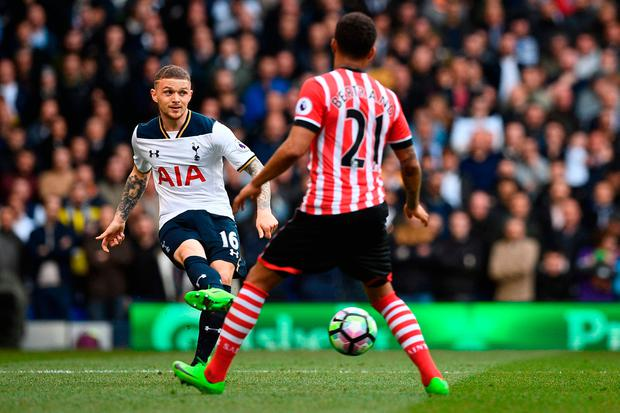 Tottenham Hotspur's English defender Kieran Trippier (L) passes the ball by Southampton's English defender Ryan Bertrand. Photo: Getty Images