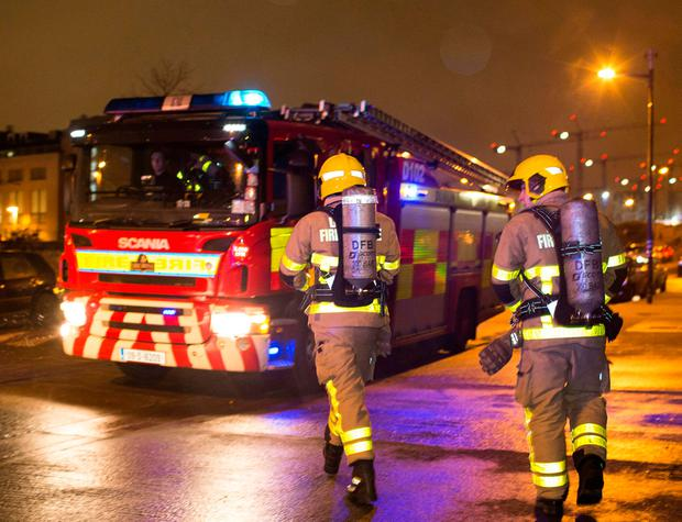 Crews respond to a fire alarm in Ringsend