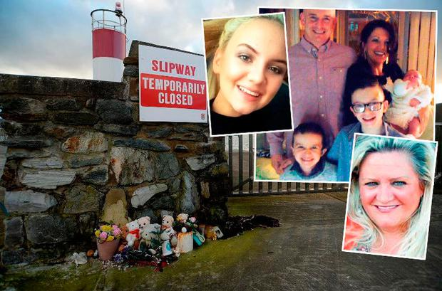 Victims of the Buncrana pier tragedy; Sean McGrotty (49), the couple's sons Evan (8) and Mark (12), Jodie Lee Daniels (14) and Ruth Daniels (57). Baby Rioghnach survived the tragedy. Louise James (top right) was the only member of the family who did not travel with them from their Derry home.