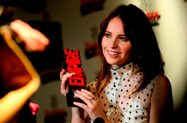 Felicity Jones with the award for Best Actress in the winners room at the Three Empire Awards held at The Roundhouse in Chalk Farm, London.