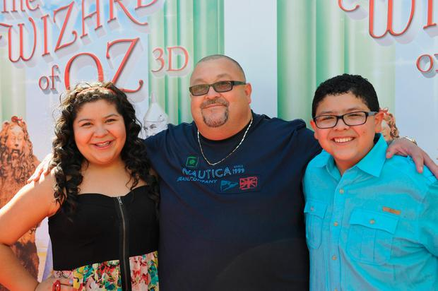 Actress Raini Rodriguez, father Roy Rodriguez, and actor Rico Rodriguez attend the world premiere of