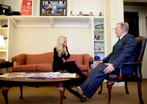 US Government Press Secretary Sean Spicer speaks to Niamh Horan in his office in the White House. Picture; Gerry Mooney