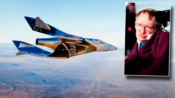 Virgin Galactic of the Virgin Spaceship Unity (VSS Unity) and inset Stephen Hawking