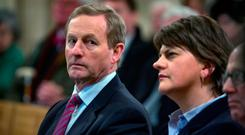 Taoiseach Enda Kenny with Northern Ireland First Minister Arlene Foster. Photo: Arthur Carron