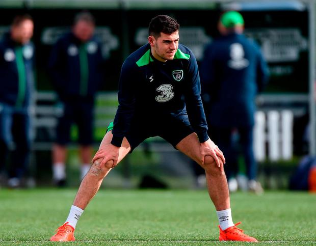 John Egan during Republic of Ireland squad training at FAI National Training Centre in Abbotstown Co. Dublin. Photo: David Maher/Sportsfile