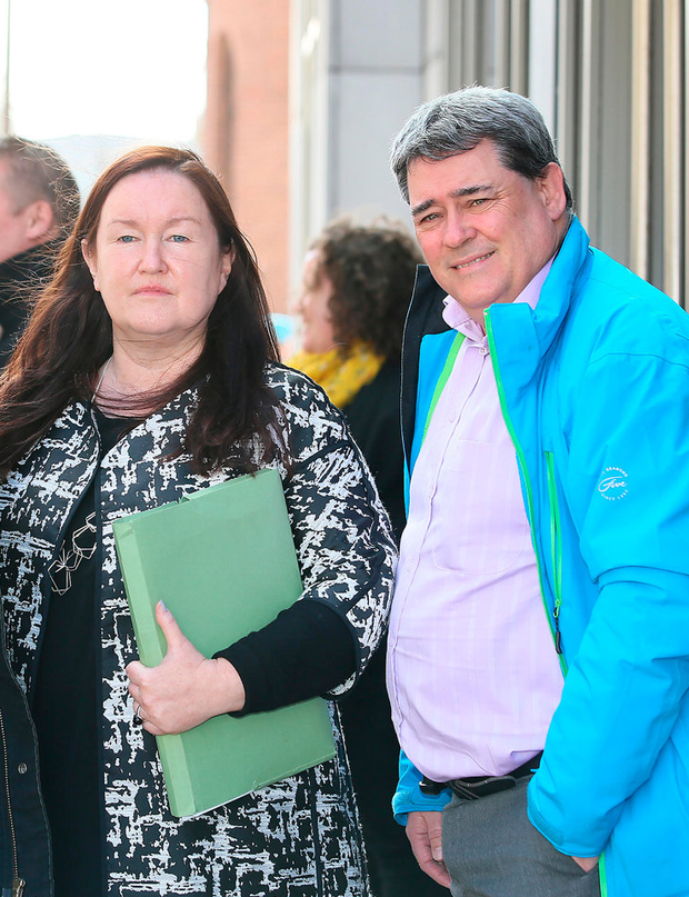 Ethel Buckley from Siptu and former Clerys worker Gerry Markey at the planning hearing in Dublin yesterday. Photo: Frank McGrath