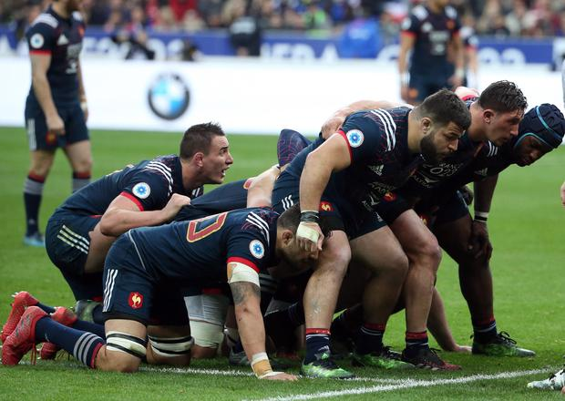 Rabah Slimani (centre) at the front of a French scrum against Wales on Saturday. Photo: Jean Catuffe/Getty Images
