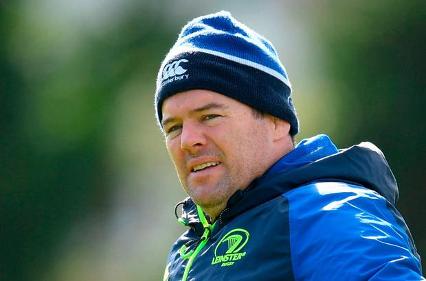 Leinster scrum coach John Fogarty insists Sexton won't be 'cribbing' over the bangs he took against England. Photo: Stephen McCarthy/Sportsfile
