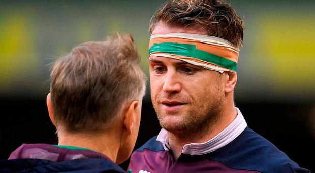 Heaslip was withdrawn from Ireland's starting XV against England after he pulled up in the warm-up. Photo: Brendan Moran/Sportsfile