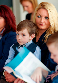 Darragh Cahill (7) from Kilkenny with his mother, Claire Cahill at Millennium House for the launch of The Ombudsman for Children report. Picture: Maxwells