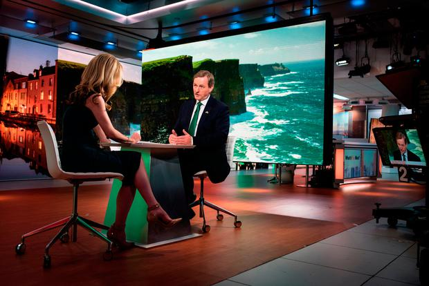 Enda Kenny in a Bloomberg Television interview in New York, in which he discussed his meeting with President Trump, the state of the Irish economy and the Brexit negotiations. Photo: Kholood Eid/Bloomberg
