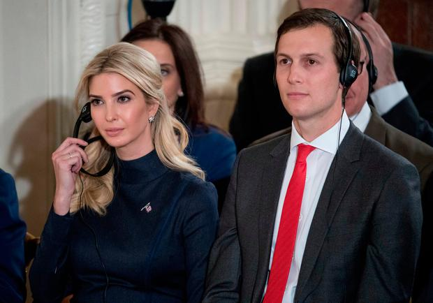 Ivanka Trump, the daughter of President Donald Trump, and her husband Jared Kushner, senior adviser to President Donald Trump, attend a joint news conference with the president and German Chancellor Angela Merkel in the East Room of the White House in Washington