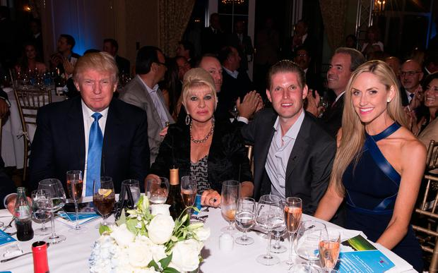 (L-R) Donald Trump, Ivana Trump, Eric Trump and Lara Yunaska attend The Eric Trump 8th Annual Golf Tournament at Trump National Golf Club Westchester on September 15, 2014 in Briarcliff Manor, New York. (Photo by Dave Kotinsky/Getty Images)