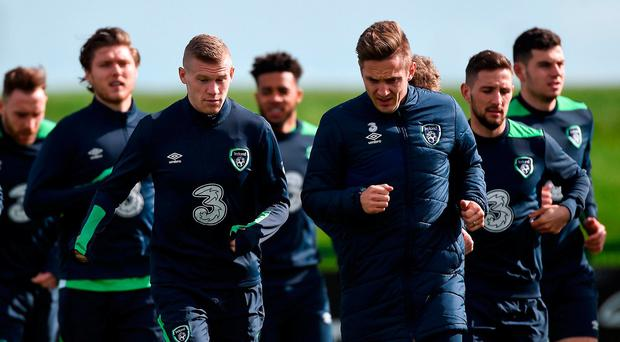 Republic of Ireland players James McClean, left, and Kevin Doyle during Republic of Ireland Squad Training at FAI National Training Centre in Abbotstown Co. Dublin. Photo by David Maher/Sportsfile