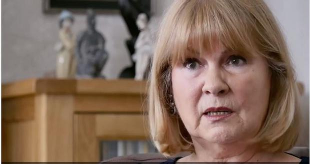 Marie Lyon speaking to Sky News reporter Jason Farrell in his documentary Primodos: The Forgotten drug scandal which airs on Wednesday on Sky News at 9pm