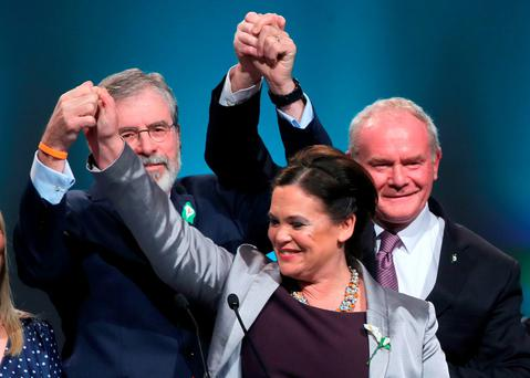 Gerry Adams, Mary Lou McDonald and Martin McGuinness at the Sinn Fein ard fheis at The Convention Centre in Dublin. Photo: Niall Carson/PA Wire